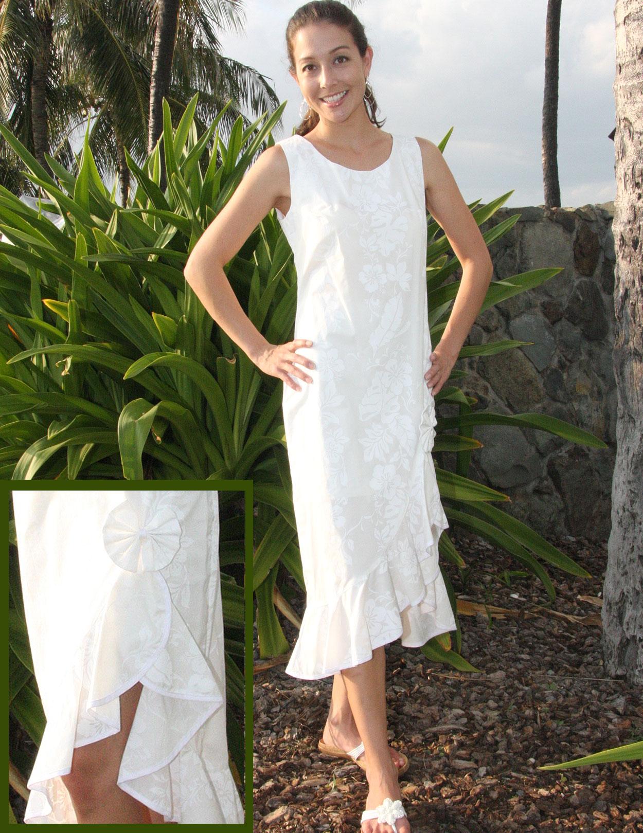 White Honolulu Wedding Tank Strap Mid Length Dress: Shaka ...