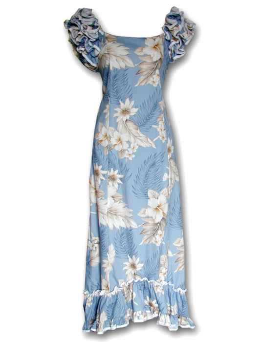e5e709933c3c1 Hawaiian Long Muumuu Blue Dress Lanai Shaka Time Hawaii Clothing