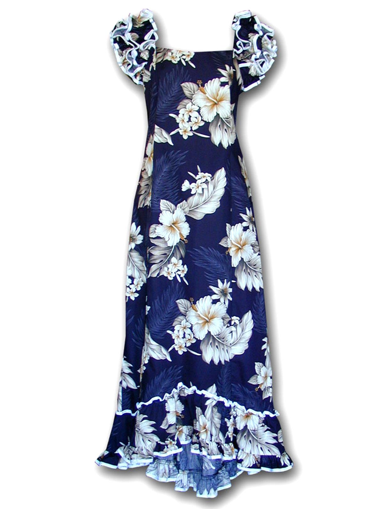 Hawaiian long muumuu navy dress lanai shaka time hawaii for How to ship a wedding dress usps