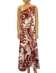 One Shoulder Maxi Dress Tiare Swirl Burgundy