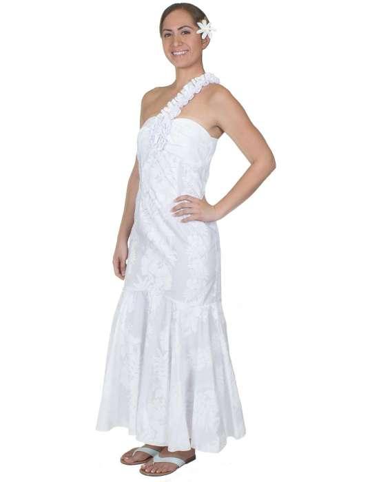 One Shoulder Hawaiian Wedding Dress Hokeo May Lei