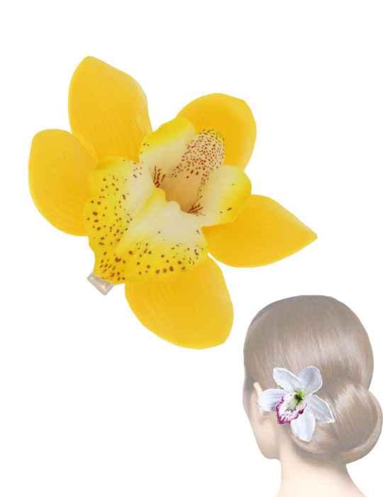Hawaiian yellow orchids flower hair clip shaka time hawaii clothing hawaiian yellow orchids flower hair clip mightylinksfo