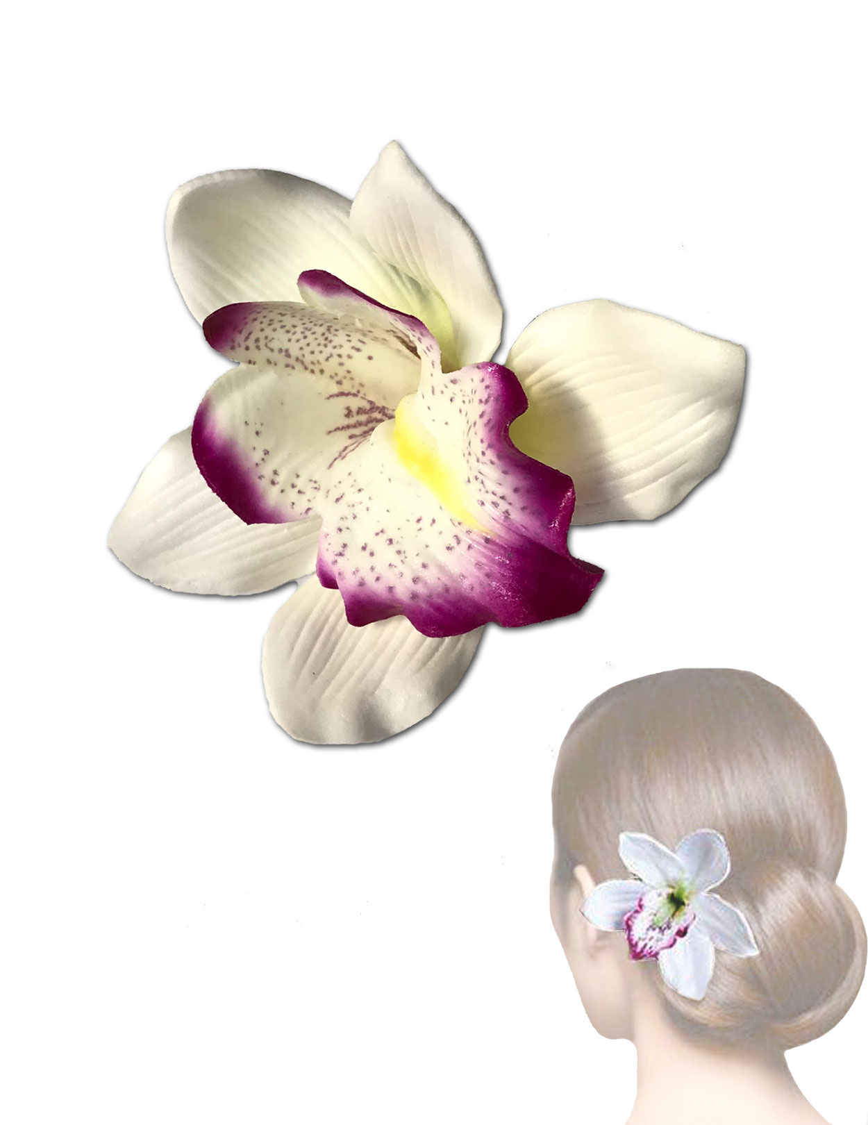 White Purple Orchid Flower Hair Clip Shaka Time Hawaii Clothing Store
