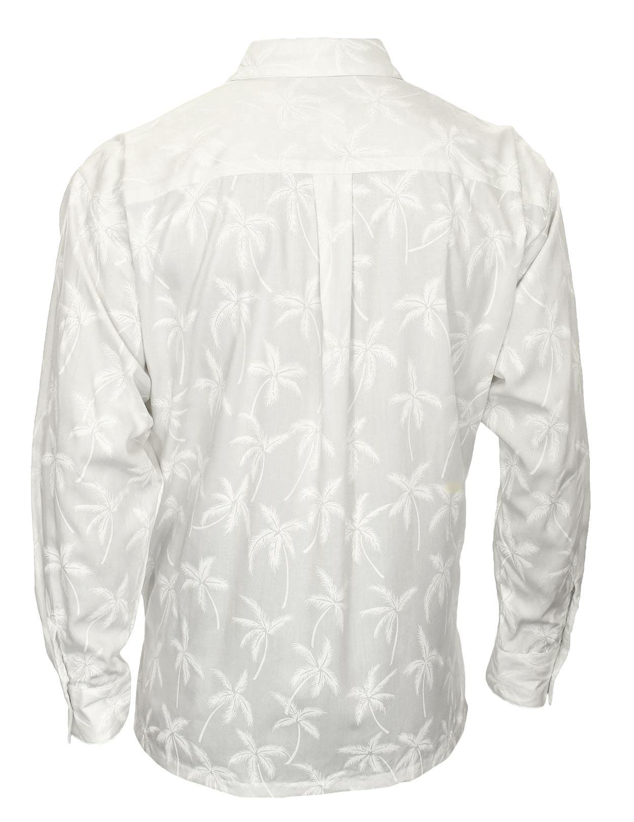 Long Sleeves Rayon Tropical Palms Hawaiian White Shirt Shaka Time Hawaii Clo