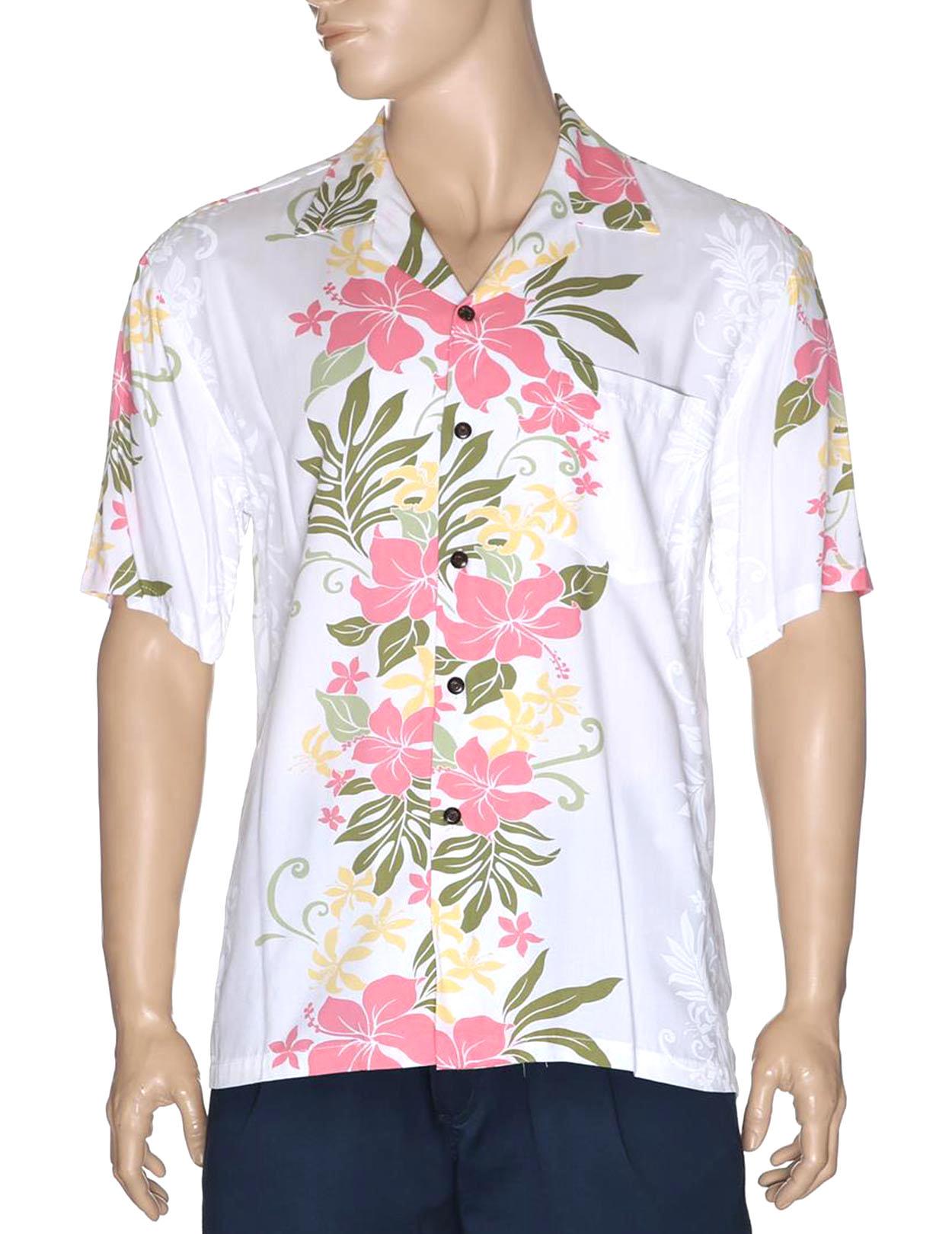 2245ac62355 Lokelani Rayon Aloha Shirt White  Shaka Time Hawaii Clothing Store