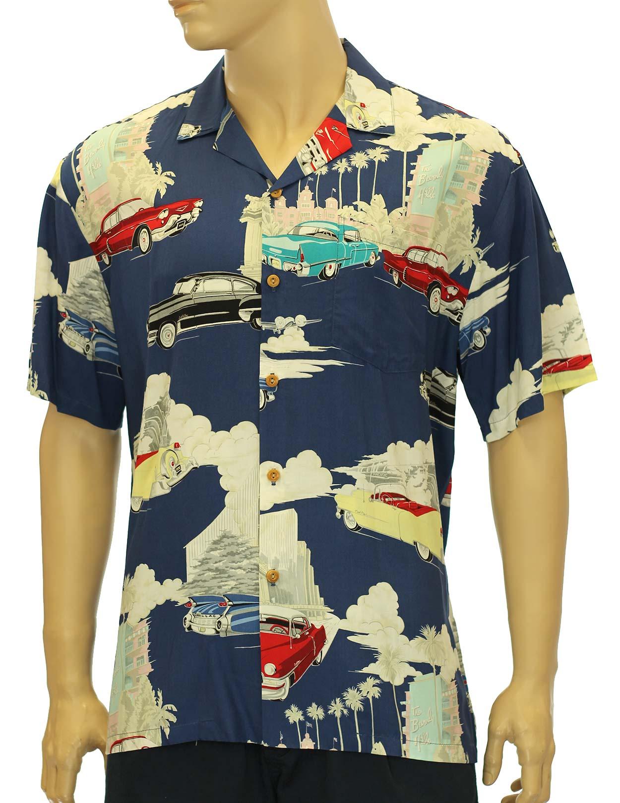 Vintage design cadillac deco rayon hawaii shirt shaka for Hawaiian design t shirts