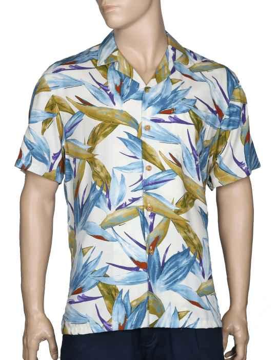 ca867001 Hawaiian Rayon Shirt Watercolor Birds of Paradise: Shaka Time Hawaii  Clothing Store