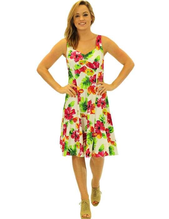 cd3ea1e25f1 Hibiscus Watercolor Sundress Dress  Shaka Time Hawaii Clothing Store