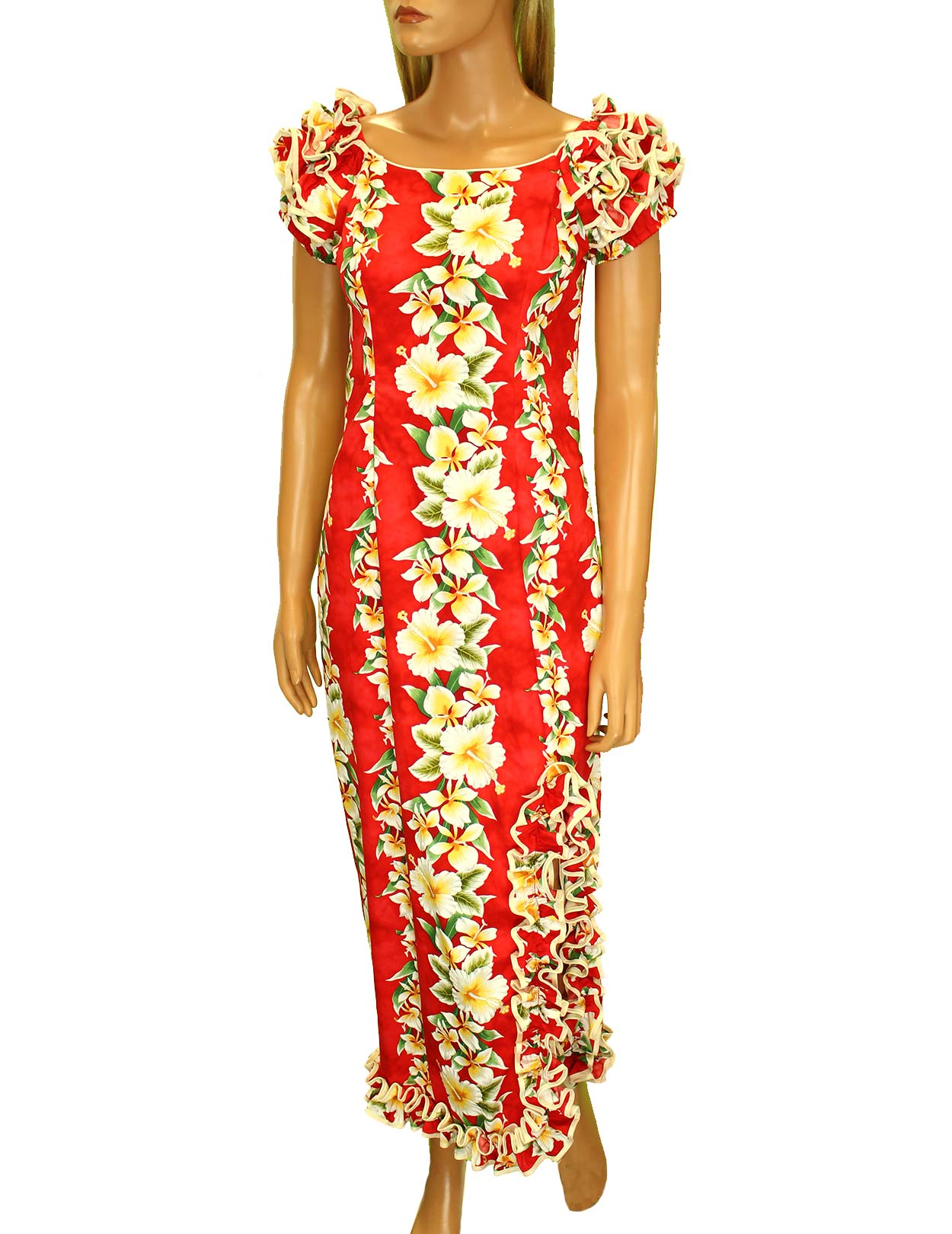 db5712be72a Luana Long Muumuus Hawaiian Dress with Ruffle Hem and Slit  Shaka Time  Hawaii Clothing Store