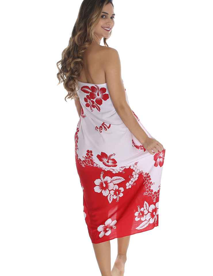 One Size sarong beach cover up hawaiian sarong poolside wear red sarong floral sarong Red floral sarong red pareo floral pareos