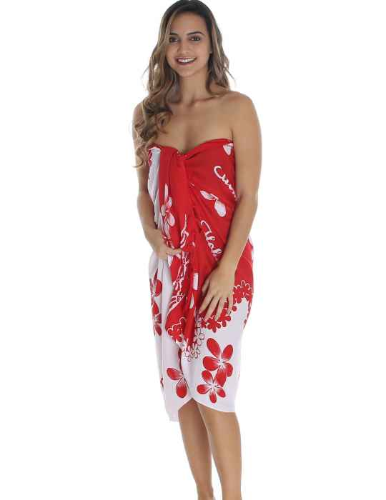 a2b556cdd0 White and Red Plumeria Flower Sarong Pareo Cover Up: Shaka Time Hawaii  Clothing Store