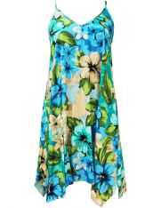 0801b272baab Hibiscus Watercolors Short Hawaiian Dress with Scarf Hem