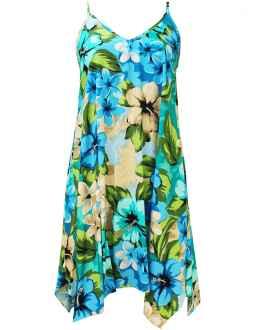 07e8535b55 Hibiscus Watercolors Short Hawaiian Dress with Scarf Hem