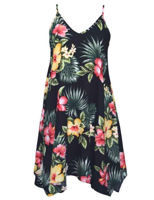 87a8f574f2e Scarf Hem Short Hawaiian Dress Lihue Hibiscus  Shaka Time Hawaii Clothing  Store
