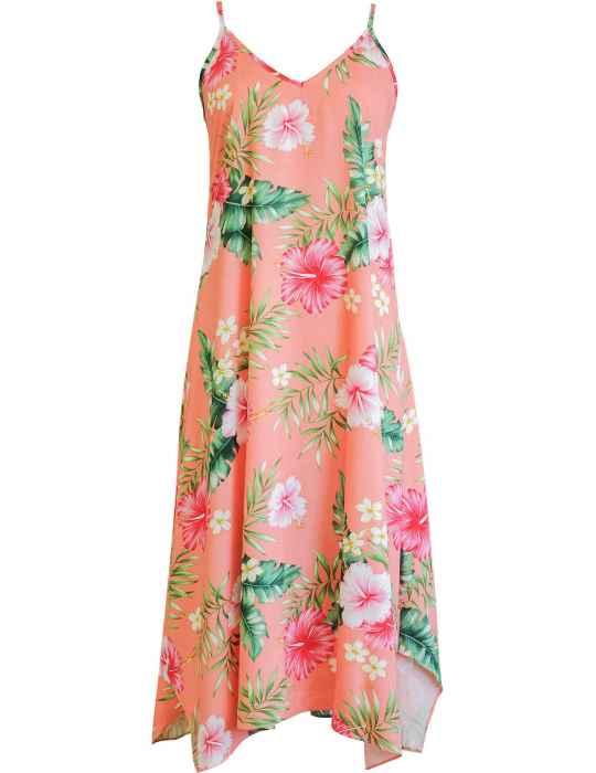 Wailana Maxi Long Hawaiian Dress with Scarf Hem