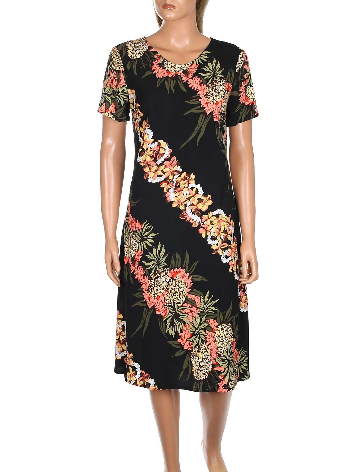 Pineapple panel short rayon dress with sleeves shaka time for Hawaiian wedding dresses with sleeves