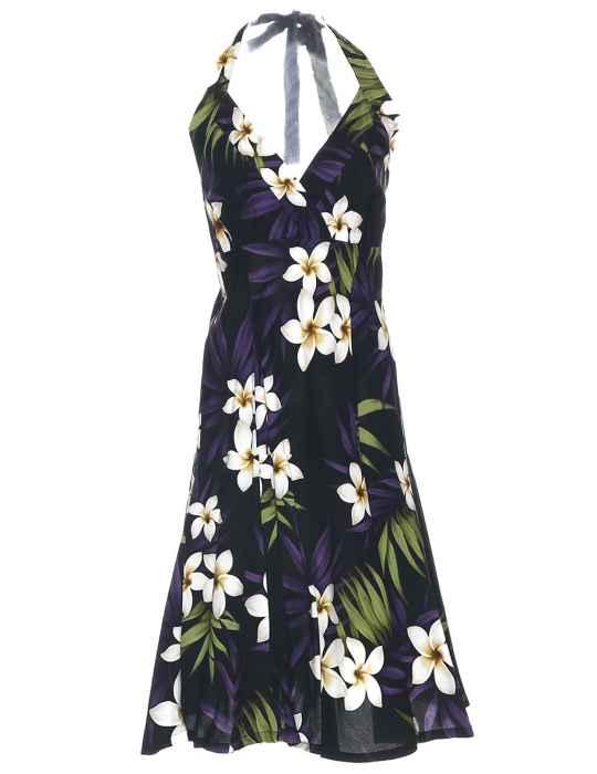 fed64777a03f2 Short Black Halter Hawaii Dress Plumeria Rain: Shaka Time Hawaii Clothing  Store