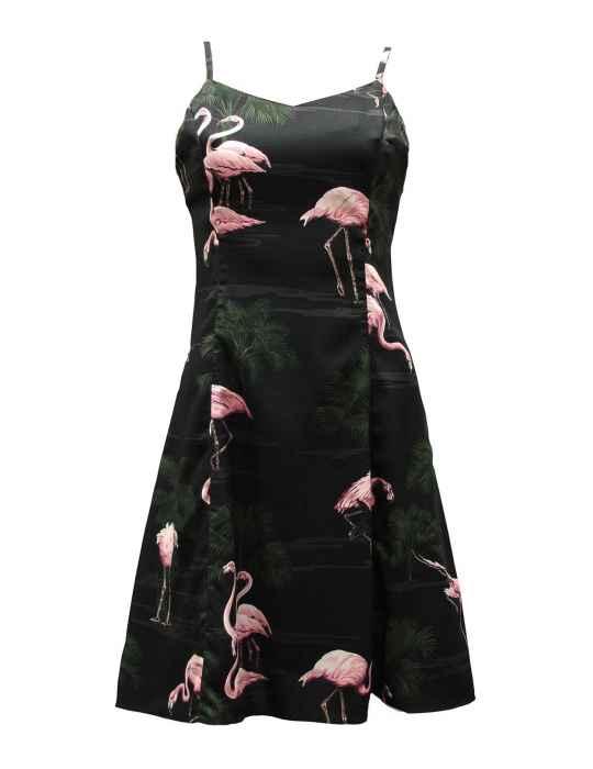 Flamingos Spaghetti Strap Hawaiian Dress in Black