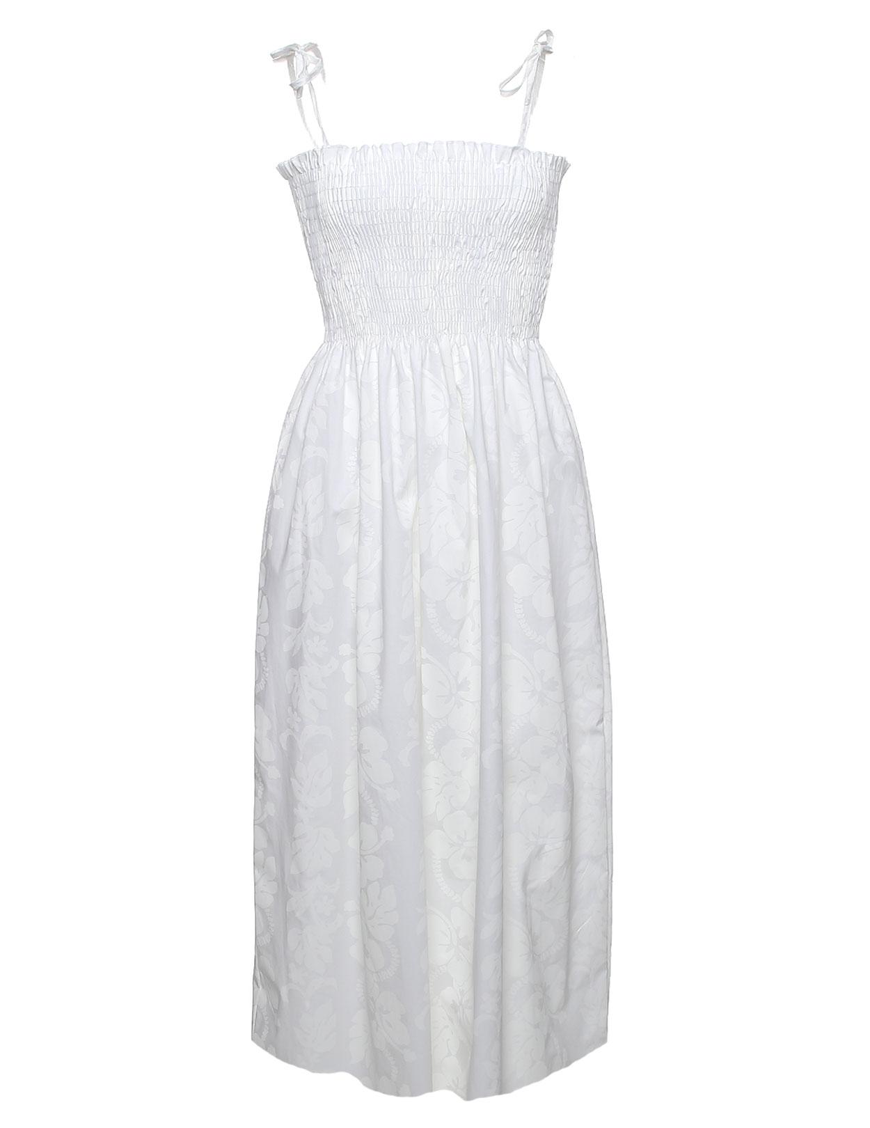 Hibiscus Lei Smock Top White Hawaiian Wedding Dress Shaka Time