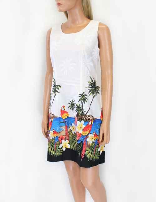 Pacific Legend Tropical Parrots Beach Floral Blue Hawaiian Sundress 360-3468