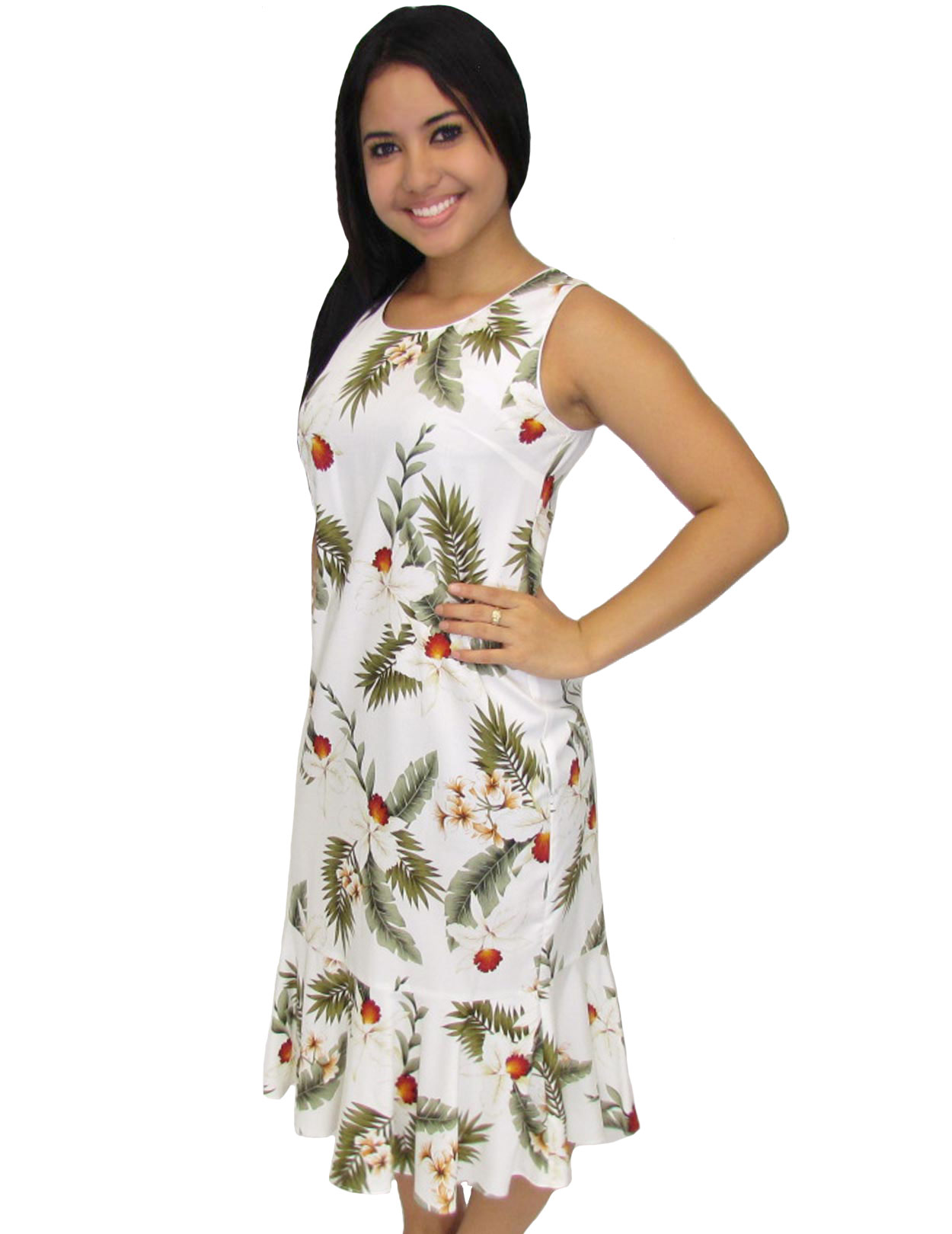 White midi dress hanapepe tank sleeveless shaka time