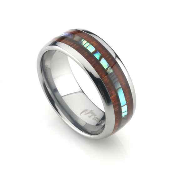 bf016256b3d706 Tungsten Band Double Koa Wood and Abalone Shell Inlay 8mm  Shaka Time  Hawaii Clothing Store
