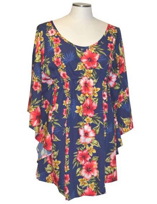 ba62b59a624 Hibiscus Leis Tunic Tops w  Sleeves Blouse  Shaka Time Hawaii Clothing Store