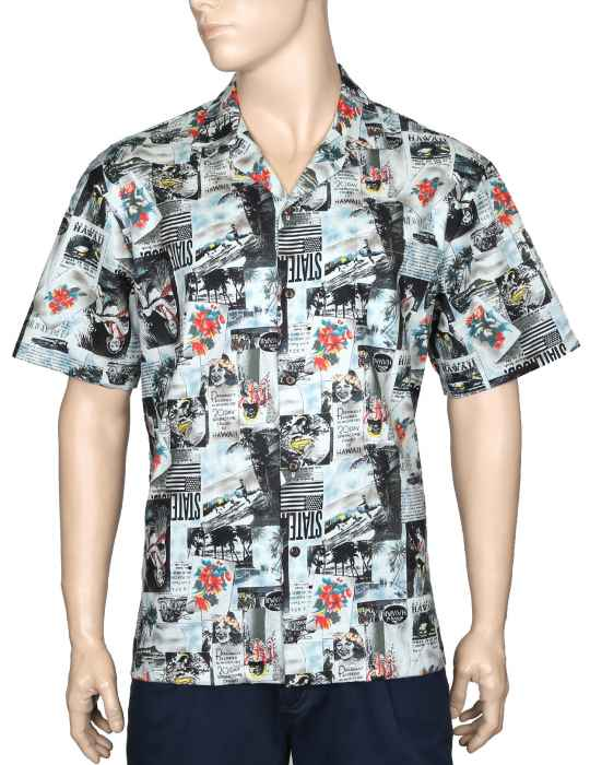 0ae99df3ccd4 Vintage Aloha Shirt Classic Hawaii Newspaper: Shaka Time Hawaii Clothing  Store