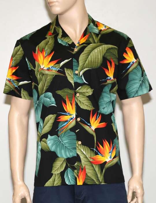 3da4974f Cotton Aloha Shirt Airbrush Birds of Paradise: Shaka Time Hawaii Clothing  Store
