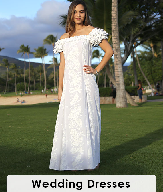 Hawaiian Wedding Dress Ruffled Maxi