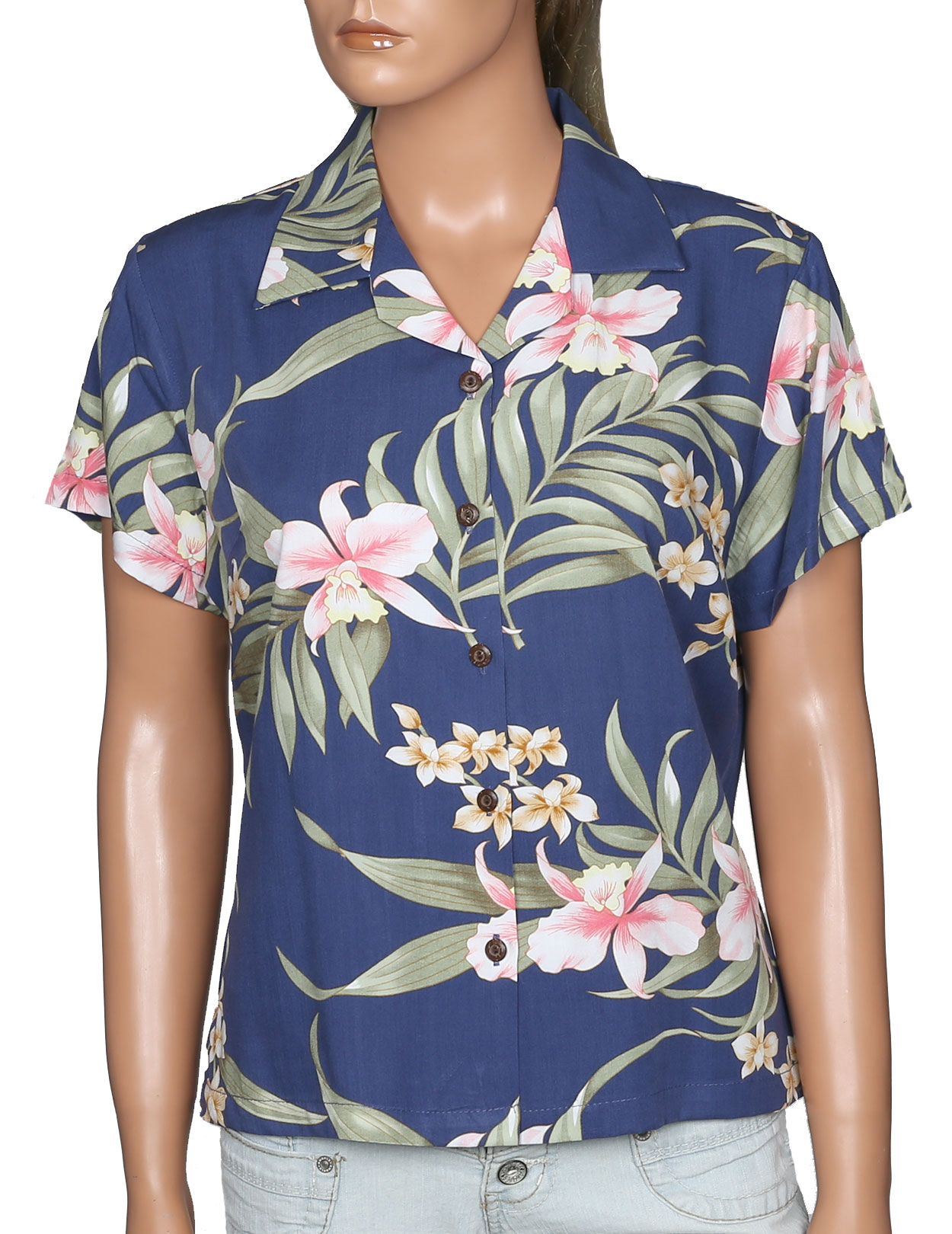 Hawaiian Shirt For Women Pali Orchid Shaka Time Hawaii