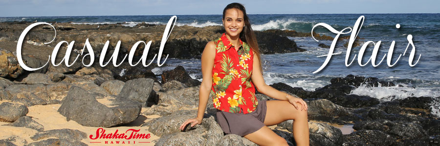 Women Hawaiian Sleeveless Shirts and Blouses