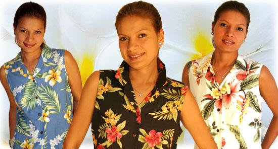 Womens Sleeveless Hawaiian Blouses 36